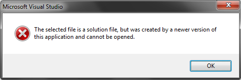 Newer version solution can not be opened in older version of VS error